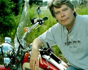 Storyteller Stephen King, his Harley and morbidly funny t-shirt