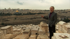 Bill Maher at the Mount of Olives in RELIGULOUS. Photo courtesy of Lionsgate.