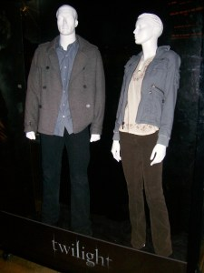 "November 20, 2008 - Midnight Screening.  Costumes for characters ""Edward"" and ""Bella"" showcased at ArcLight Cinemas in Hollywood, CA"